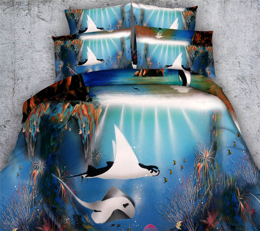 3d painting blue ocean manta ray fish bedding sets girlsadults comforter cover single queen king sizes 34 pc 500tc bedding sets from home