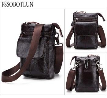 FSSOBOTLUN,For Blackview X/BV7000 Pro/A20/BV5800/S6 Case Men's Belted Waist Wallet Bag Genuine Leather Cover With Shoulder Strap