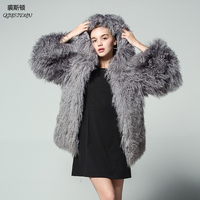 New pattern Fashionable Fur Long sleeve Cap Female Tan sheep Loose coat Russia Woman thickening Lined Large size winter Jacket