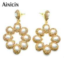 Hollow Out Sunflower Shape Stud Earrings Natural Freshwater Pearls Champagne Rhinestone Crystal Paved Fashion Women Jewelry stunning rhinestone music note guitar shape hollow out bracelet for women