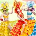 Испания бразилия карнавал стадия пром костюм певица красный Мода сексуальный комплект платье женский ds производительности одежда танцовщица партия ночной клуб