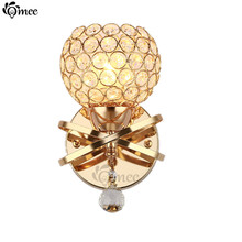 Modern Crystal Wall Lamp Golden / Silver LED Bulbs Bedside Lustre Wall Lights Aisle Bedroom Living room Lighting Round Lampshade