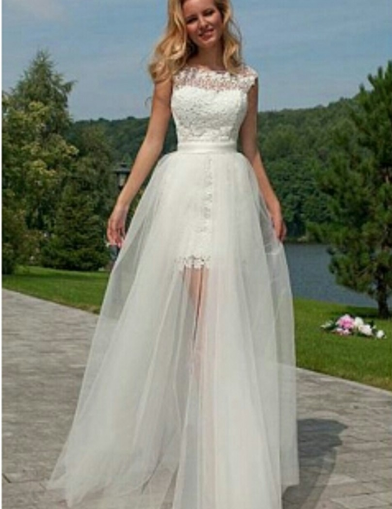 Vestidos de Noiva 2 em 1 Backless bridal gown With Detachable Skirt Sexy Sheath Short   bridesmaid     dresses