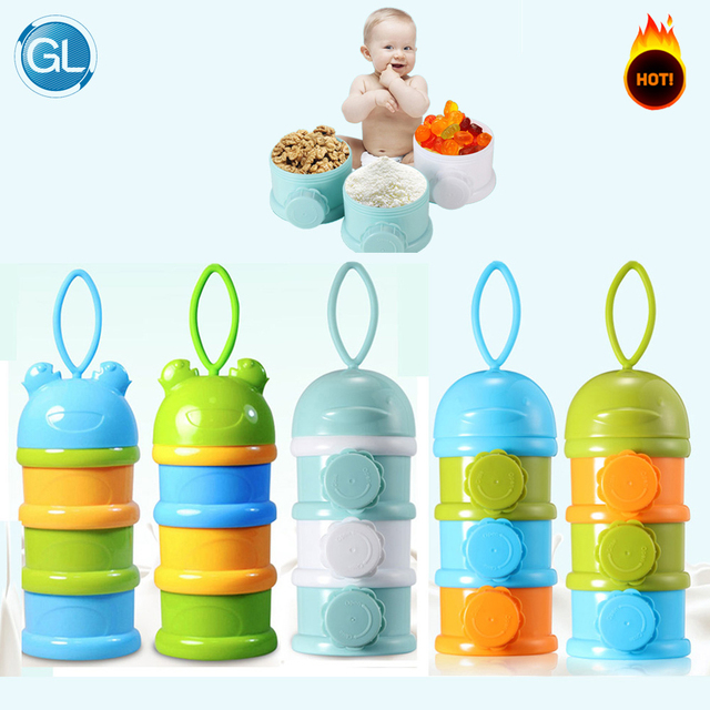 GL 3 Layers Baby Formula Milk Storage Baby Food Storage Milk Powder Storage Container Dispenser Portable Travel Fruit Snack Box