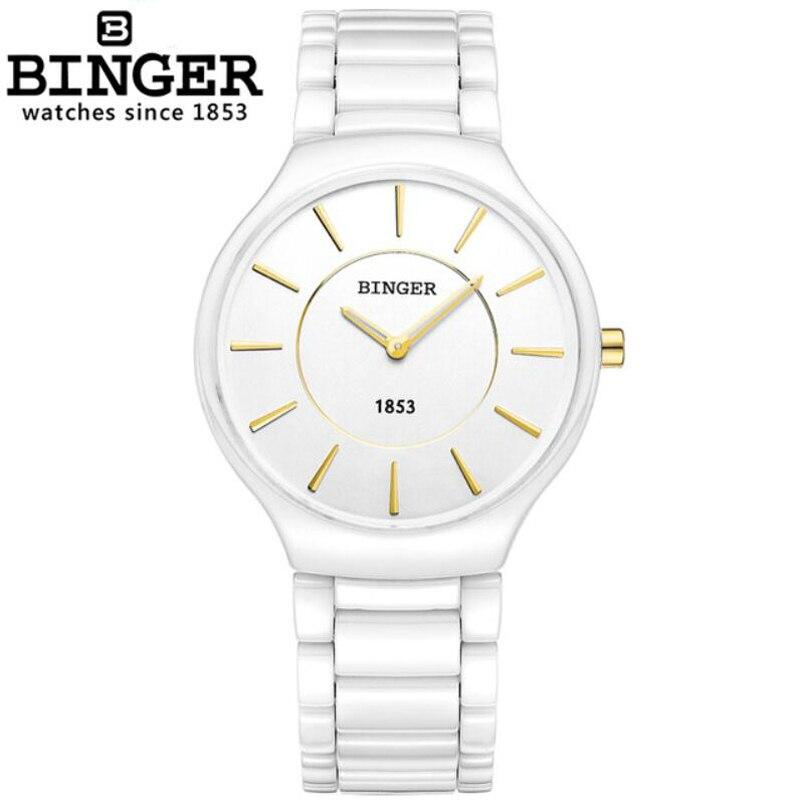 Fashion Diving 100M Sports Watches Women Switzerland BINGER Ceramics Quartz Watch Calendar Sapphire Waterproof Watch Men Ladies