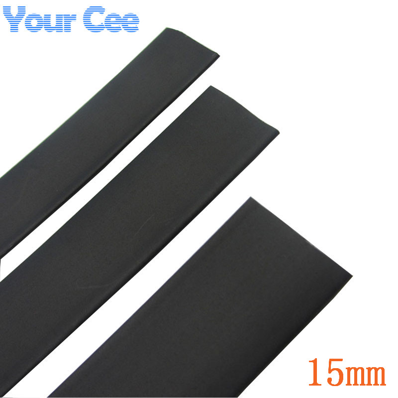 1m Black Insulation Sleeves Heatshrink Heat Shrink Tubing Wire Wrap Cable Kit Inner Diameter 15mm 600V 125Celsius