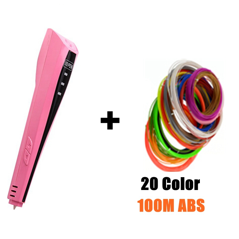 DIY 3D Printer Pen With 20pcs ABS Filament Arts 3d Pen Gift For Kids Drawing Tools 3D printing pen Birthday Education Toy creality 3d printing pen 1 75mm abs pla 3d pen 4 colors available for kids drawing with 10 meters 3d printer filament as gift