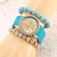 Essential Fashion Luxury Geneva Diamond Gold Watch Bracelet Women Dress Bangle Bracelet Quartz Wrist Watch Relojes