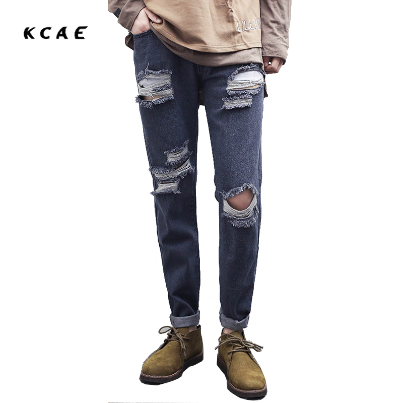 KCAE Brand 2017 New Men's Casual Hole Ripped Biker Jeans Fashion Patch Slim Denim Pants Long Trousers Gray 2017 new men s fashion vintage zipper patch hole ripped biker jeans slim straight stretch denim pants long trousers