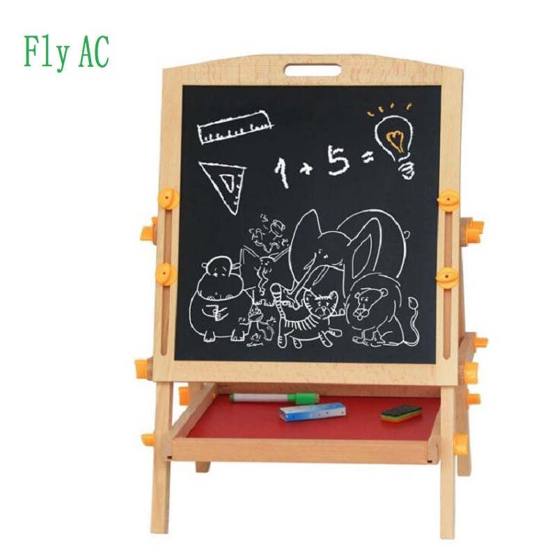 цены Fly AC Wooden Toys Easel Kids Jungle Animal Magnetic Double-sided Drawing Board Painting Blackboard Learning & Education Toys