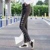 High Waist Jeans Woman 2018 Fashion Cotton Side Split Ends Tie Flash Elastic Force Women Jeans
