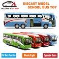 25 Cm Longitud 1 55 Sacle Diecast Metal Modelo de Autobús, Regalo de los niños Juguetes de Aleación Con Las Puertas Se Pueden Abrir/Música/Luz/Tire Hacia Atrás la Función