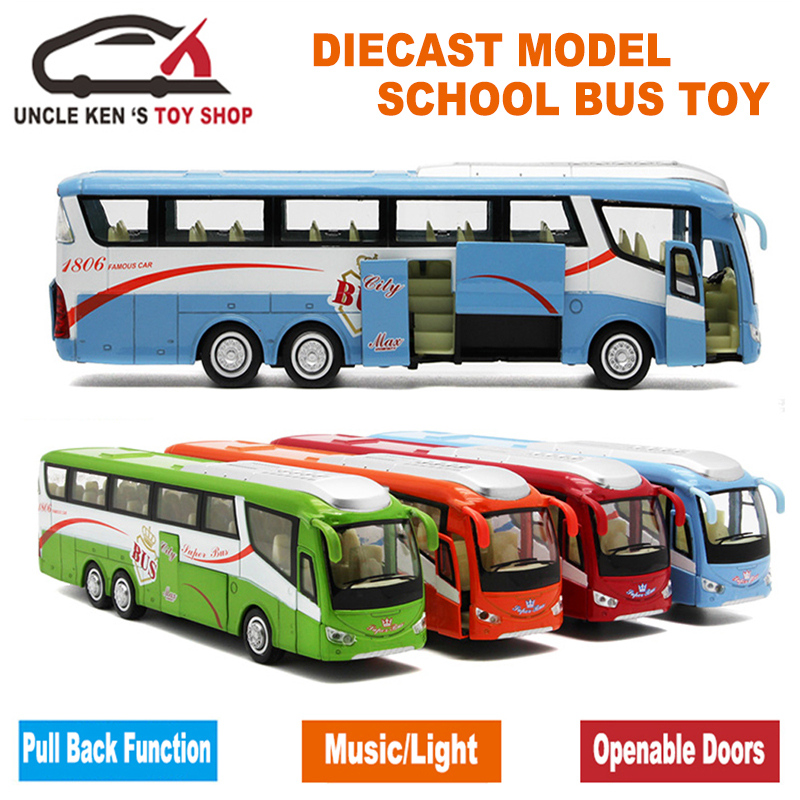 25Cm Length 1 55 Scale Diecast Metal Shuttle Bus Model, Boys Gift Alloy Toys With Openable Doors/Music/Light/Pull Back Function