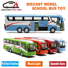 25Cm Length 1 55 Scale Diecast Metal Shuttle Bus Model, Boys Gift Alloy Toys With Openable Doors/Music/Light/Pull Back Function(China)