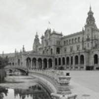Fountain in front of a building  Plaza De Espana  Seville  Seville Province  Andalusia  Spain Poster Print (36 x 13)