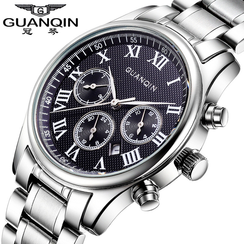 ФОТО Relogio Masculino GUANQIN Casual Quartz Watch Business Mens Watches Top Brand Luxury Sapphire Waterproof Full Steel Wristwatch
