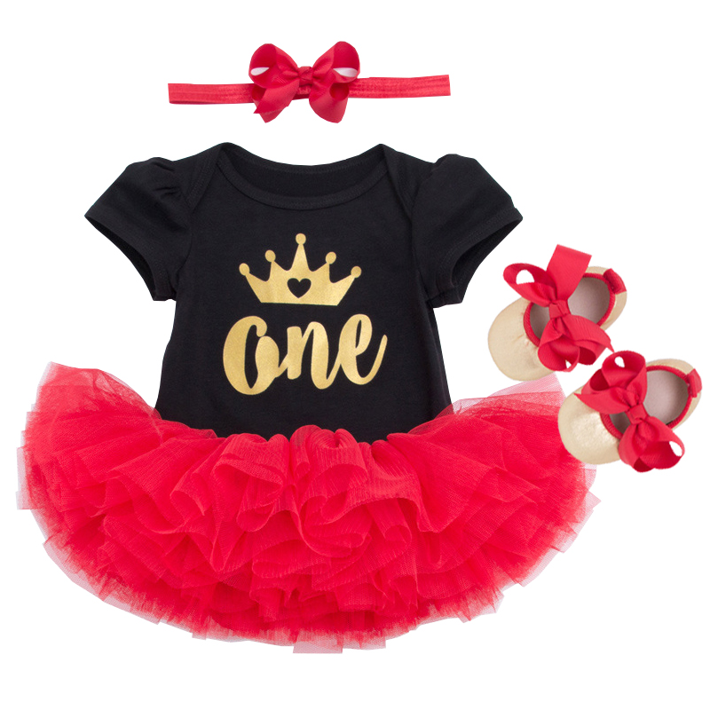 4PCS Toddler Kids Baby Girl Clothes Set One Crown Bodysuit +Tutu Skirt Headband Shoe Outfits Summer Girls Suit Children Set 0-2Y new born baby girl clothes leopard 3pcs suit rompers tutu skirt dress headband hat fashion kids infant clothing sets