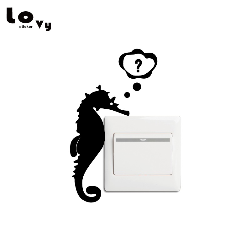Cute Seahorse Vinyl Light Switch Sticker Creative Ocean Animal Vinyl Wall Sticker for Kids Room Bedroom Home Decor SW0011