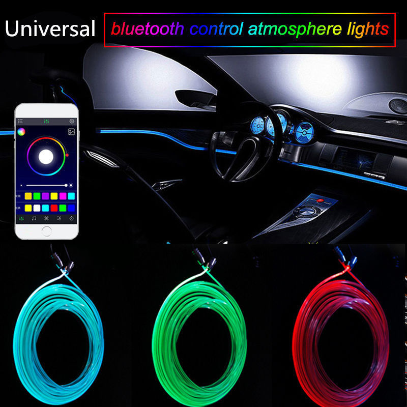 Sound Active Bluetooth Phone APP Control Colorful Car Interior LED RGB Atmosphere Lamp Neon Strip Light Styling Decoration DC12V
