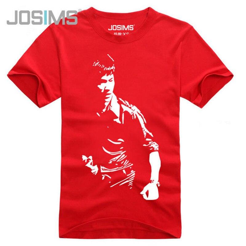 Summer Mens 100% Cotton T-Shirt Character Print Bruce Lee Classic Film Memorial T-Shirt Short Sleeve O-Neck Streetwear A1361