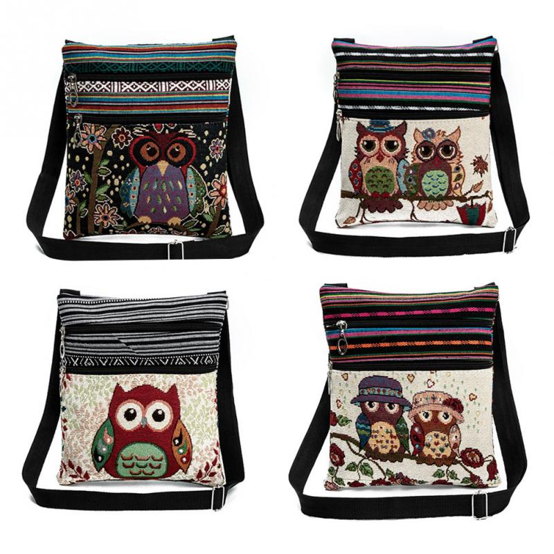 Embroidery Crossbody Bag Canvas Teenager Ladies Schoolbag Cute Owl Travel Shoulder Double Cartoon Messenger Beach Bag