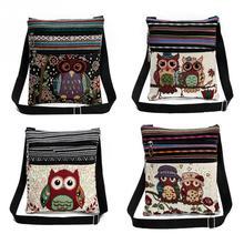Embroidery Crossbody Bag Canvas Teenager Ladies Schoolbag Cute Owl Travel Shoulder Double Cartoon Messenger Beach