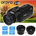 Ordro câmera de vídeo digital filmadora 1080 p 24mp + 0.45x lente grande + 2x teleconvertor frete grátis