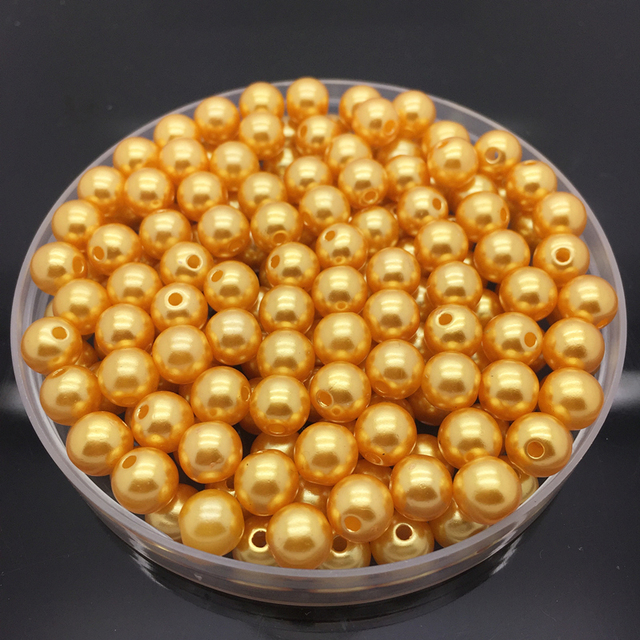 4mm-10mm Gold Imitation Pearls Round Pearl Spacer Loose Beads DIY Jewelry Making Necklace Bracelet Earring Accessories