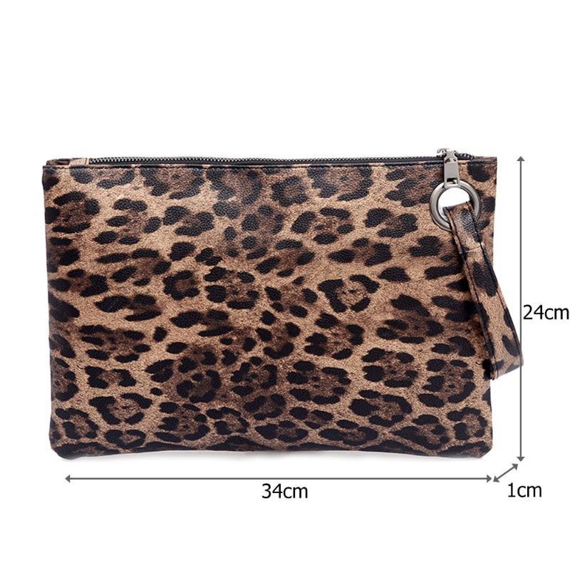 Leopard Print Portable Wristlet Clutch Women Wallet PU Leather Coin Purse Totes