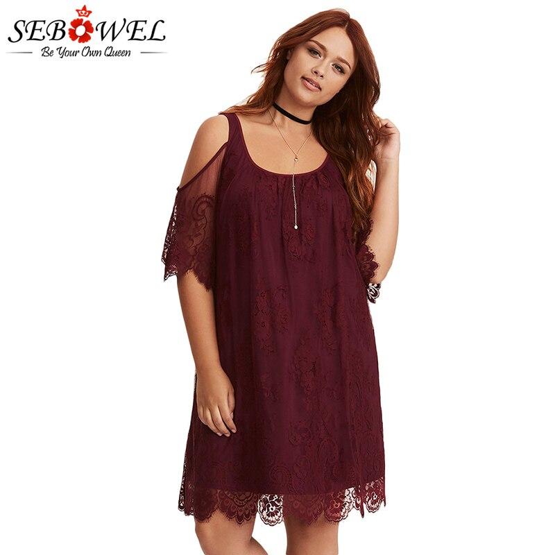 Burgundy-Plus-Size-Lace-Cold-Shoulder-Trapeze-Dress-LC220363-3-2