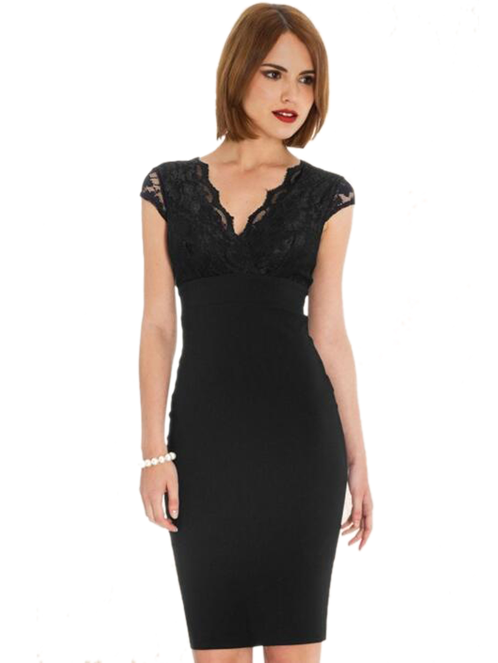Wrap Neckline Black Floral Lace Pencil Elegant Dress Cap Sleeve V ...