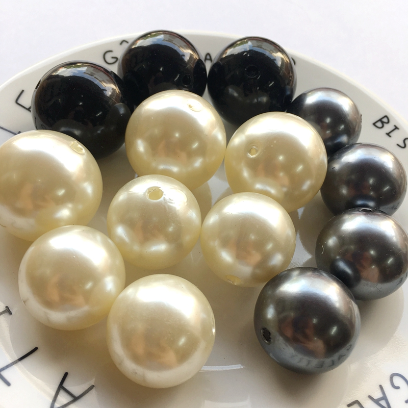 Acrylic big size Imitation pearl DIY Beads black beige For Exaggeration Jewelry Making Needlework Accessories 24mm25mm30mm