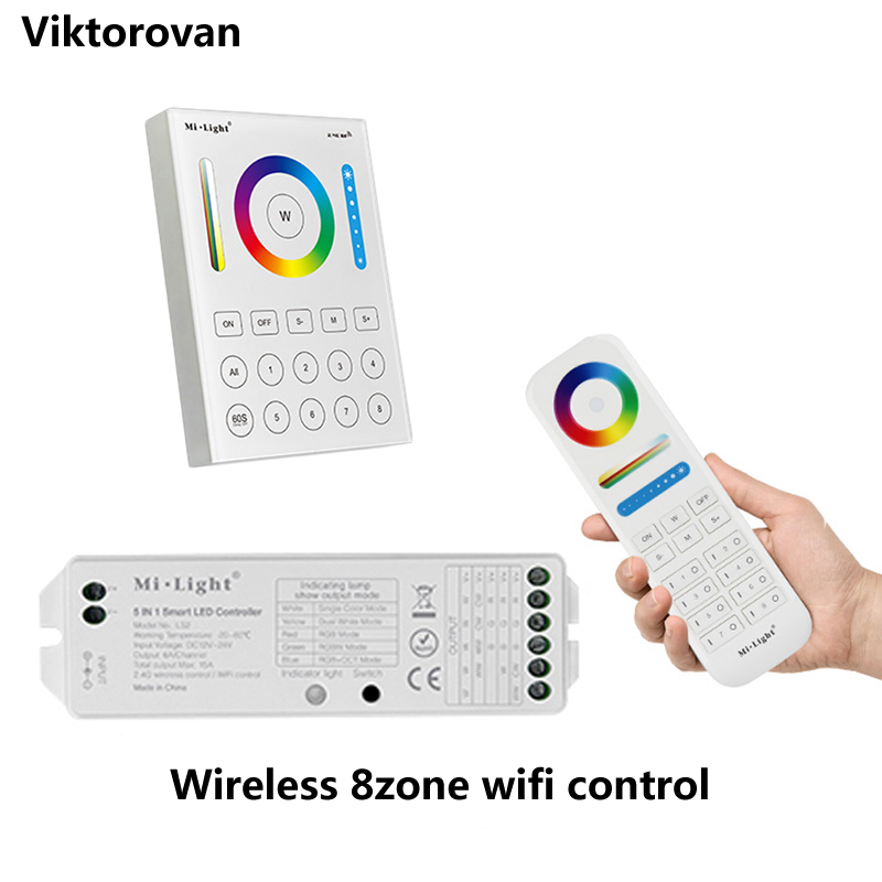 2.4g Mi.light Wireless Wifi Rgb Led Controller Rgbw Rgb Cct Strip Bulb Lamp 8-zone Remote Controller Wall Mounted Ios Android Clear And Distinctive
