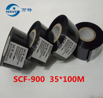цена на Free shipping (35mm*100m) High qualtiy Black color ribbon for date printing on Date coder for EXP,MFG,hot stamping ribbon PRINT