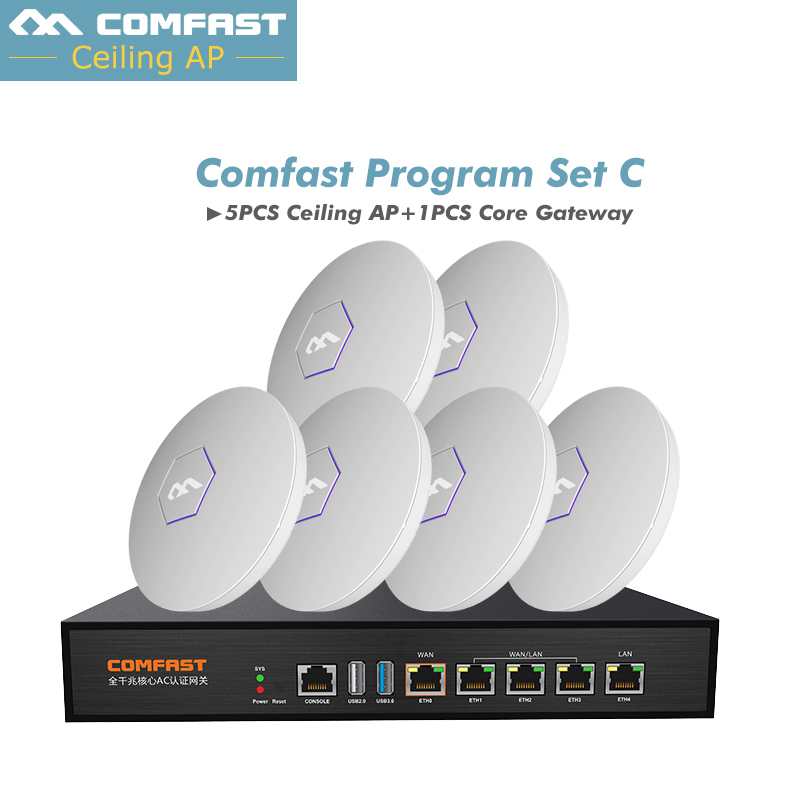 Hot COMFAST 300Mbps 2.4Ghz Wireless access point For hotel wifi coverage solution indoor AP + AC Gateway wifi router open DD WRT comfast full gigabit core gateway ac gateway controller mt7621 wifi project manager with 4 1000mbps wan lan port 880mhz cf ac200