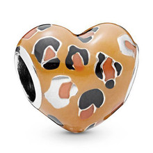 New 925 Sterling Silver Bead Charm Brown Black Orange Ename Leopard Spotted Heart Beads Fit Pandora Bracelet Bangle Diy Jewelry