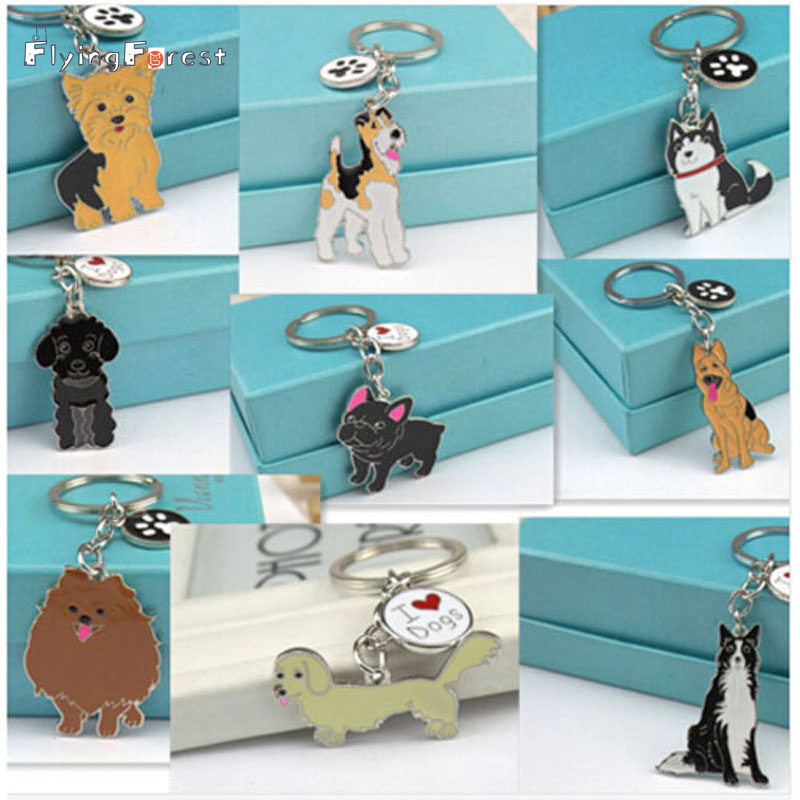 Drop Shipping Pet Dog Key Chain Pakabukai Key Buckle Tag key Juvelyrika Moterų Keychains Valų Corgi Chihuahua Bag Charms raktų pakabukas