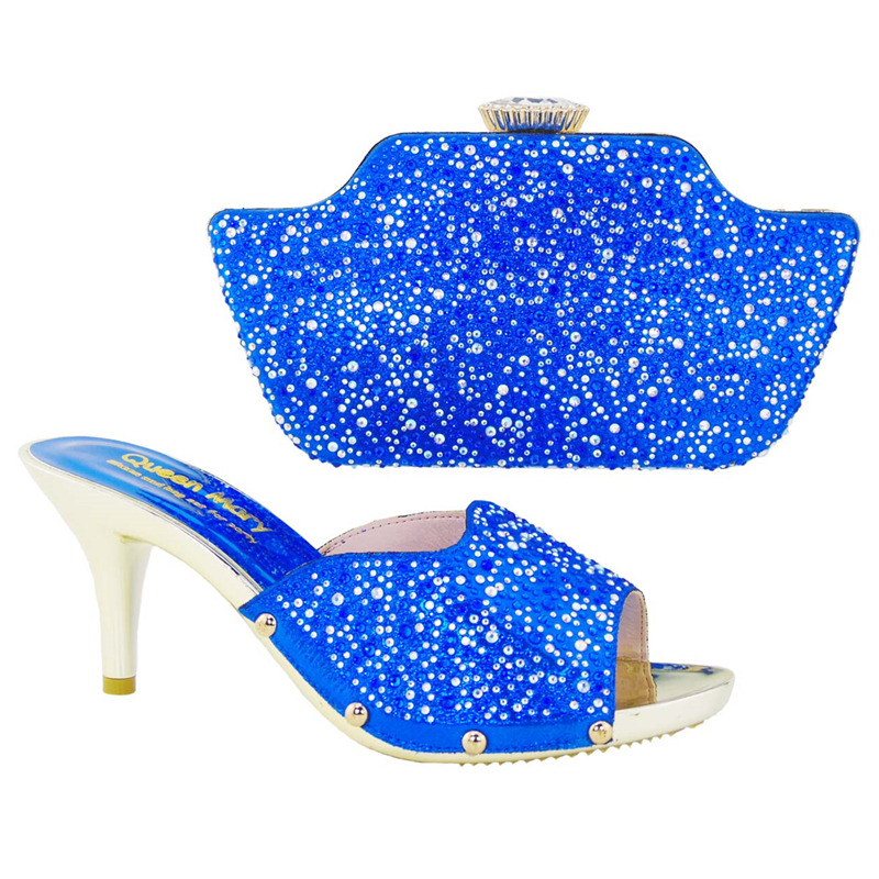 ФОТО FREE shipping!Top selling women's shoes and bags set! high class 2016 African shoes and matching bags HS001 Royal Blue