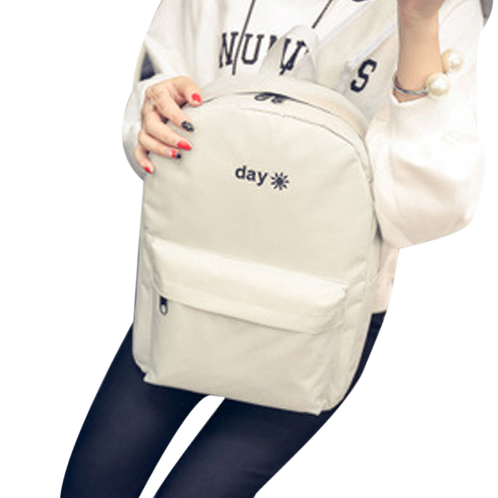 2018 canvas women backpack school bakcpacks for teenage girls simple embroidered Day and Night back pack casual travel mochila