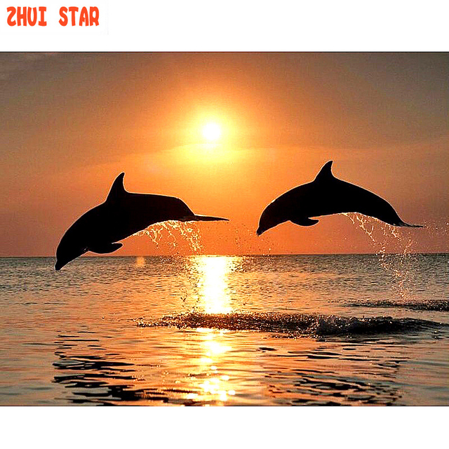 8e664430d1a Sunrise The dolphins jumped out of the sea Diamond Embroidery Diamond  Painting Cross Stitch rhinestones Mosaic Crafts Kits Decor