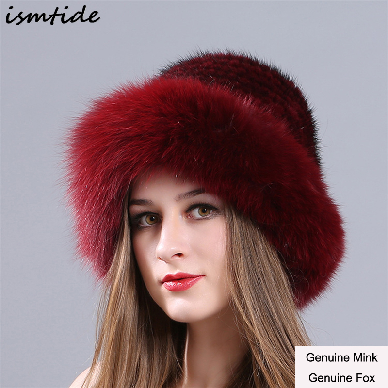 Women Genuine Fox Fur Winter Mink Hat Pompom Hats For Women Winter Cable Knitted Cap Female Real Mink Fur Skullies & Beanies asus radeon rx 460 1200mhz pci e 3 0 4096mb 7000mhz 128bit dvi hdmi dp hdcp strix rx460 4g gaming