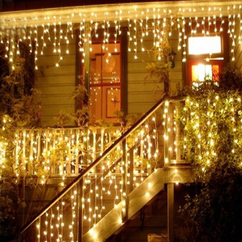 5M 96 LED Curtain Icicle String Lights Christmas Fairy Lamp Holiday Home Wedding Party Decorative String Lights Warm EU/US