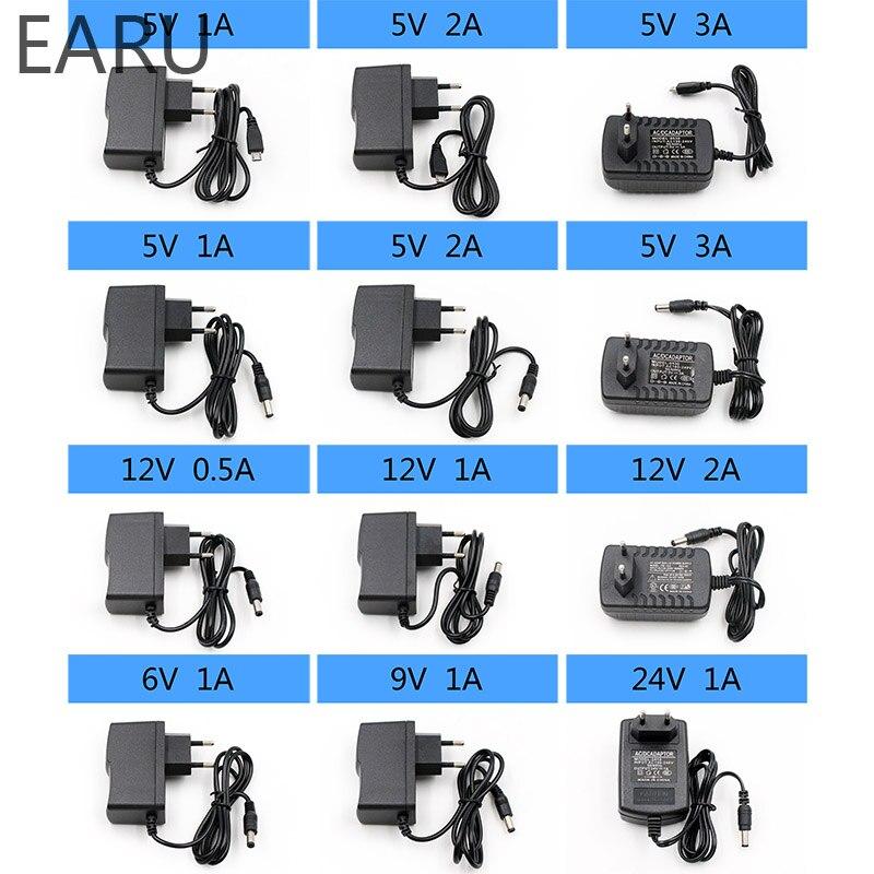 1 Pc 100-240 V Ac à Dc Alimentation Chargeur Adaptateur 5 V 6 V 9 V 12 V 24 V 0.5a 1a 2a 3a Eu Prise 5.5mm X 2.1mm Led Usb Bande De Lumière Téléphone