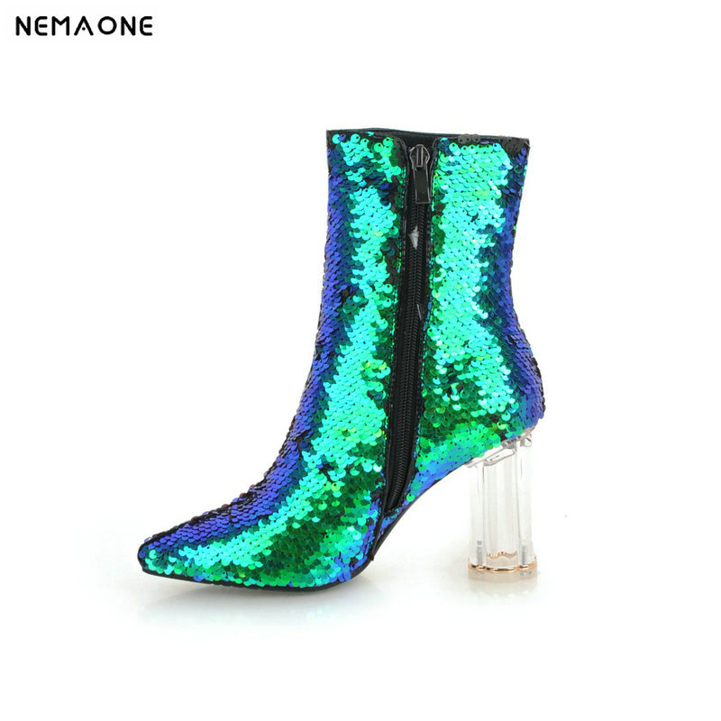 NEMAONE New bling women thick high heels ankle boots winter warm dancing shoes woman ladies party dress shoes large size 42 43 цена