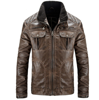 BZBFSKY High quality Autumn And Winter brown men leather jacket warm leather coat leisure men jacket motorcycle PU leather coats
