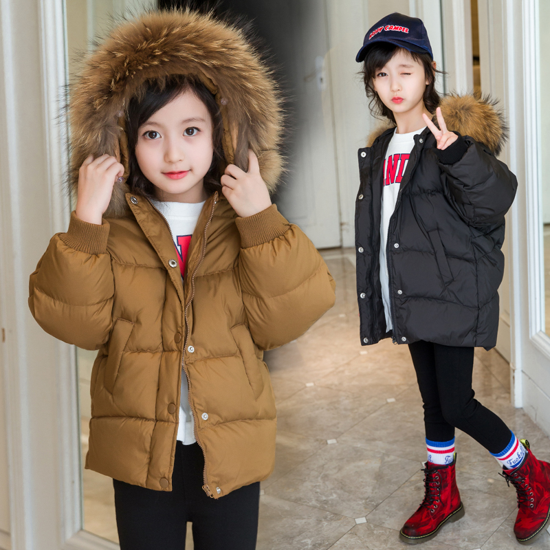 Girls Down Jackets 2017 Brand Winter Thicken Natural Fur Collar Hooded Children Down Coats Outerwear Overcoat Parkas 4-14 years a15 girls down jacket 2017 new cold winter thick fur hooded long parkas big girl down jakcet coat teens outerwear overcoat 12 14