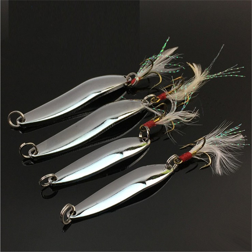FISHINAPOT 1pcs Metal Sliver 5g/7g/10g/13g/18g/21g Spoon Fishing Lure Hard Bait Sequins with Feather Treble Hook Wobbler Spinner outkit 10pcs lot copper lead sinker weights 10g 7g 5g 3 5g 1 8g sharped bullet copper fishing accessories fishing tackle