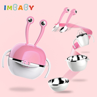 IMBABY Baby Dishes 5 Sets Stainless Steel Insulated Children's Dishes Dinnerware Set Plate Dishes For Children Baby Bowl Fork