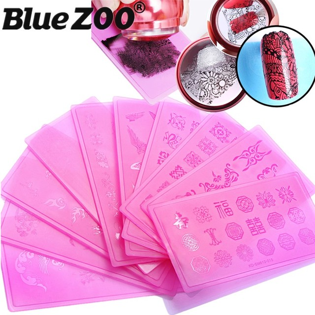 12 Designs Rectangle Nail St&ing Template Flowers Wings Pink Plastic Printing Plates Nail Art St& Polish & 12 Designs Rectangle Nail Stamping Template Flowers Wings Pink ...