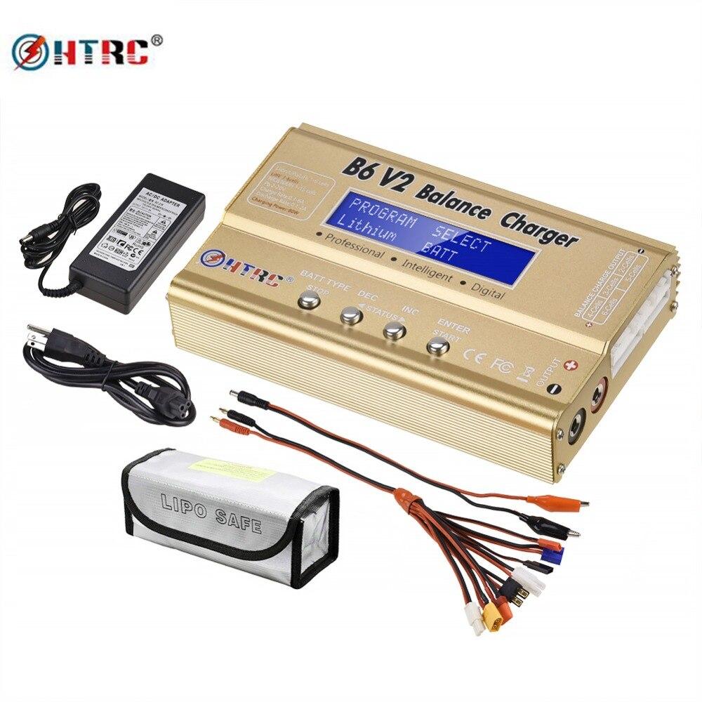 Chargeur de batterie HTRC B6 V2 80 W LiPo + jeu de câbles de chargeur 8 en 1 + adaptateur secteur 15V6A + sac de sécurité Lipo LED chargeur d'équilibre 1 S-6 S